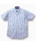 麻混縞柄シャツ